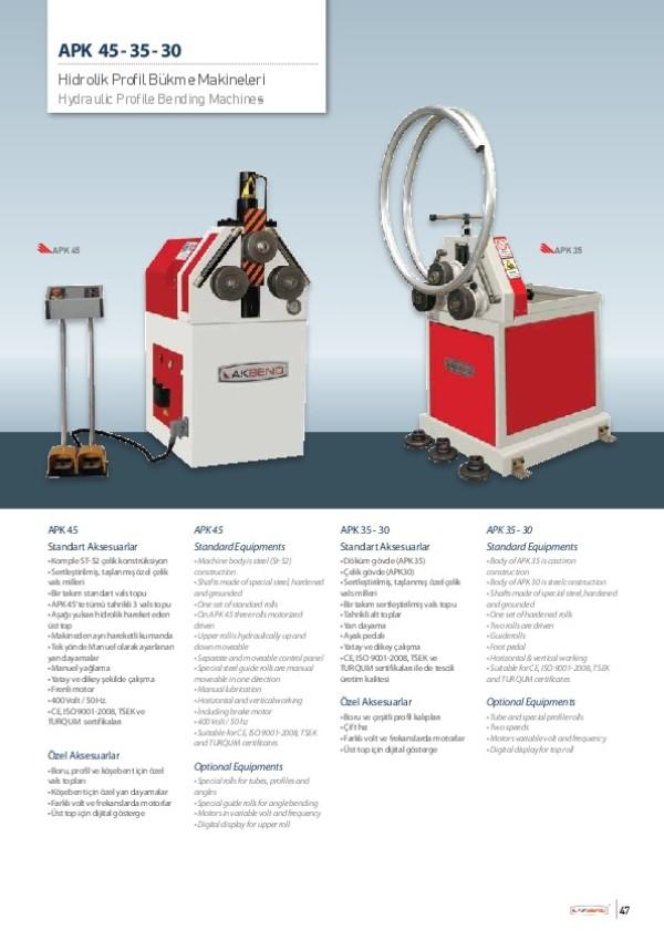 APK 45-35-30 - Hidrolik Profil Bükme Makineleri