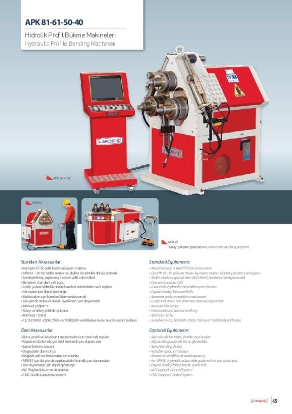 APK 81-61-50-40- Hidrolik Profil Bükme Makineleri