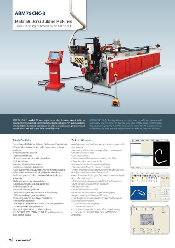 ABM 76 CNC-3- Malafalı Boru Bükme Makinesi