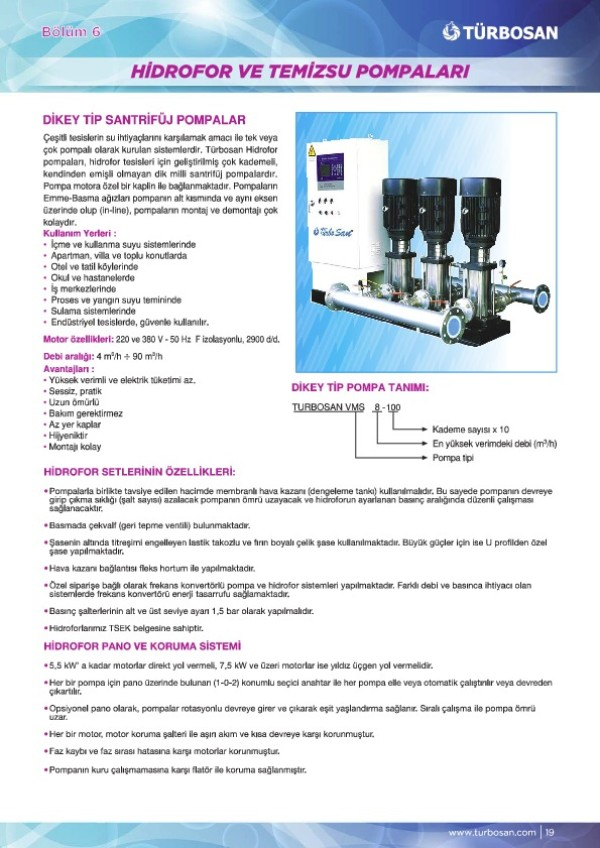 Hidrofor ve Temiz Su Pompaları