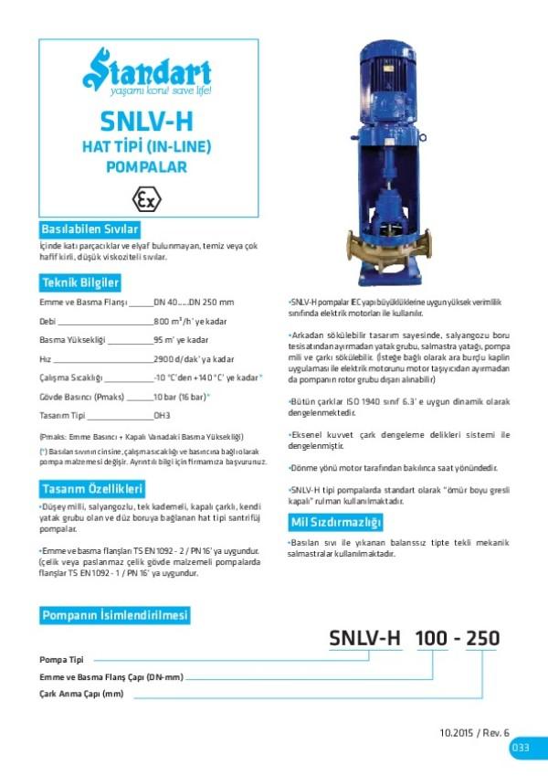 SNLV-H Hat Tipi (In-Line) Pompalar